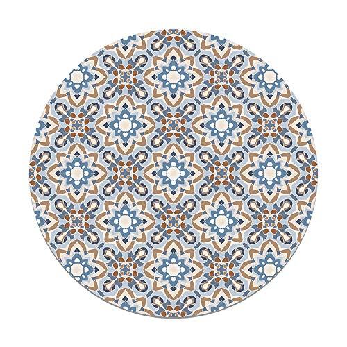 Panorama Tappeto Vinile Rotondo Piastrella Orientale Fiorito Blu 150x150 cm - Tappeto da Cucina Piastrelle Antiscivolo - Tappeto Moderno Salotto - Tappeto Lavabile Ignifugo - Tappeto Grande