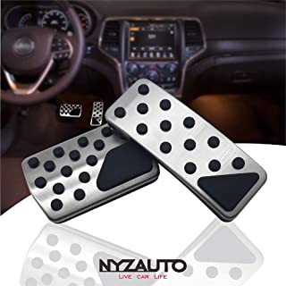 NYZAUTO Non-Slip Foot Pedal Pads for 2011-2018 Jeep Grand Cherokee & Dodge Durango,Auto No Drilling Aluminum Brake and Accelerator Pedal Covers