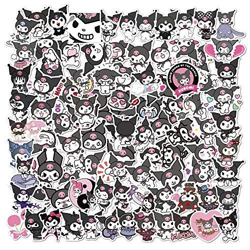 Pegatinas de dibujos animados de Kuromi Melody para niños, regalo de bricolaje, monopatín, equipaje, nevera, portátil, 100 unidades