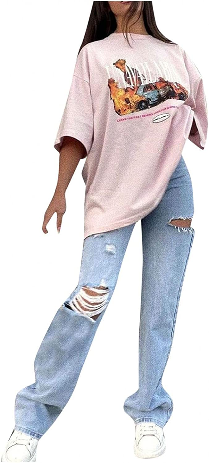 Aiouios Jeans for Women High Waisted Mom Jeans Stretch Baggy Ripped Jeans Wide Leg Straight Denim Pants Trousers Streetwear