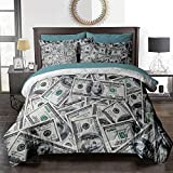 BlessLiving 3D Bed in A Bag One Hundred Dollar Bill Print Bedding Sets Full 8 Pieces Money Pattern - 1 Comforter, 2 Pillow Shams, 1 Flat Sheet, 1 Fitted Sheet, 1 Cushion Cover, 2 Pillowcases
