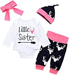 Winsummer Newborn Baby Boy Girl Xmas Newyear Costume Outfits Long Sleeve Romper Bodysuit +Pants+Hat+Headband