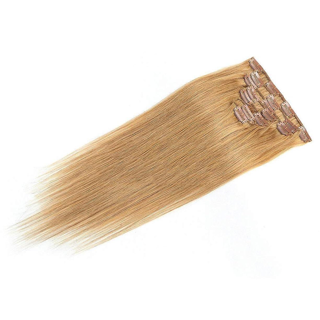 スペースフットボール有毒HOHYLLYA 18インチのクリップ人間の髪の拡張子7ピース18インチの本物の髪の拡張子クリップ#27ブロンドロールプレイングかつら女性の自然なかつら (色 : #27 blonde)