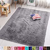 PAGISOFE Grey Fluffy Shag Area Rugs for Bedroom 5x7, Soft Fuzzy Shaggy Rugs for Living Room Carpet Nursery Floor Girls Dorm Room Rug