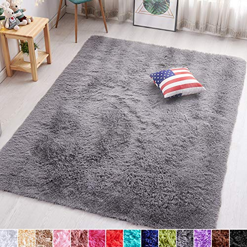 PAGISOFE Grey Fluffy Shag Area Rugs for Bedroom 5x7, Soft Fuzzy Shaggy Rugs for Living Room Carpet Nursery Floor Girls Dorm Room Rug