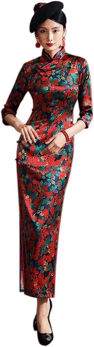 Women Red Slim Long Dress Silk Floral Printed Cheongsam Wedding Party Evening Qipao 3258 XXL