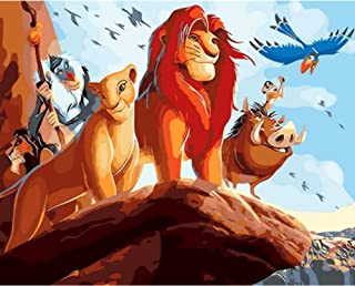 Quepar Paint by Numbers The Lion King Cartoon Poster Package Modern Style Hand Painted Acrylic Canvas Painting(40X50Cm/16X20Inch,No Frame)