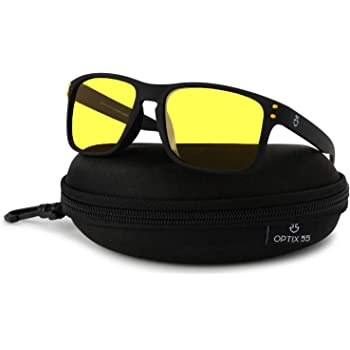 Rectangle Stylish Outdoor Mens Black Amber HD Lens Day Night Driving Sunglasses