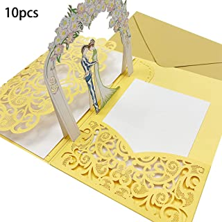 Vitality-Store 10pcs 3D Pop up Wedding Invitation Cards with Envelope for Wedding Baby Shower for Merry Christmas Party