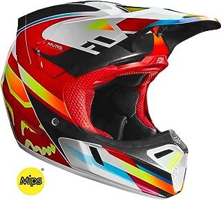 2019 Fox Racing V3 Motif Helmet-Red/Yellow-L