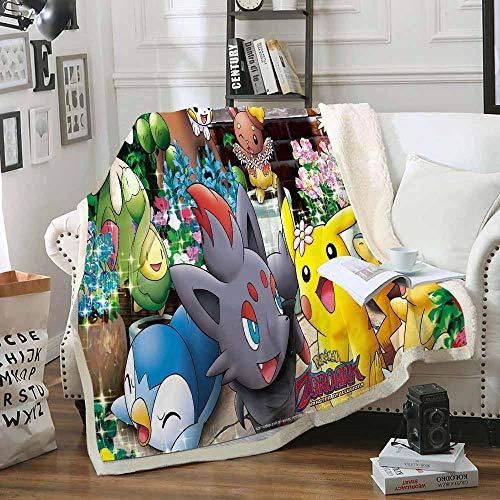 TAGEXZ Tagesdecken Pokemon Spiel Pikachu Muster Weiche Fleece Decke Plüsch Warme Bettwäsche Quilt Sherpa Home Decke (A) 150 * 200cm