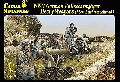Caesar Miniatures - 1/72 WWII German Fallschirmjager Heavy Weapons (7.5cm Leichtgeschutz 40) & 18...