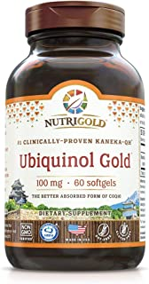 NutriGold Ubiquinol Gold Cardiovascular and Cellular Energy Support - Non-GMO, Kosher Certified and Gluten Free - 100mg (6...