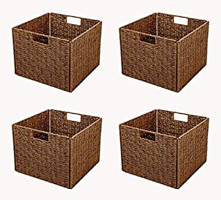 Trademark Innovations Foldable Storage Basket with Iron Wire Frame by (Set of 4), Brown