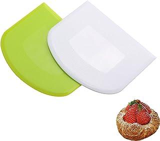 Ealicere Grattoir à Pâte Grattoir à Pâte en PE Coupe pâte,Outil à Lisser Les Gâteaux, 2 Pièces De Crème Au Beurre en PE Ra...