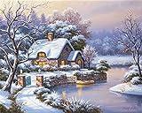 Kit de pintura al óleo por número para niños adultos principiante 40,6 x 50,8 cm - Cabina de nieve lago, dibujo con pinceles decoración de Navidad regalos (marco)
