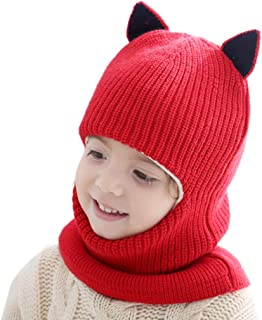 Diamoenly Children Baby Conjoined Scarf Hat Cartoon Warm Winter Beanie Infants Toddler Cute Knitted Hat
