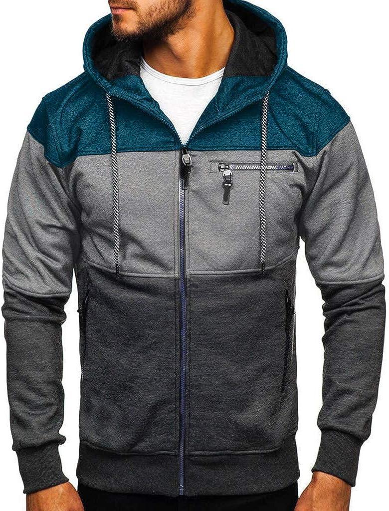 F_Gotal Mens Hoodies Zip Up Lightweight Slim Casual Long Sleeve Colorblock Hooded Pullover Sweatshirts Outwear Coats