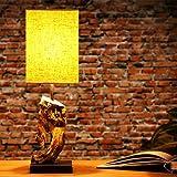 Lampe de table « Corteza » 45 cm en bois flotté avec abat-jour lin sable