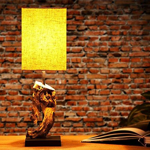 *DESIGN DELIGHTS TISCHLEUCHTE CORTEZA 45 cm aus Treibholz mit Leinenschirm Sand*