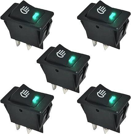 E Support 5 X Kfz Auto Boot Kippschalter Druckschalter Schalter 12v Grün Led Licht Nebelscheinwerfer Auto