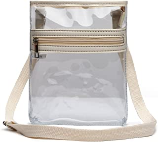 Small Clear Messenger Bag with Front Zipped Pocket and Adjustable Shoulder Strap