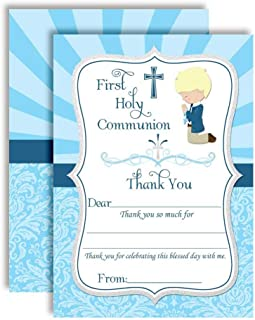 """First Holy Communion Religious Thank You Notes for Boys (Light Skin, Blond Hair), Ten 4"""" x 5.5"""" Fill In The Blank Cards with 10 White Envelopes by AmandaCreation"""