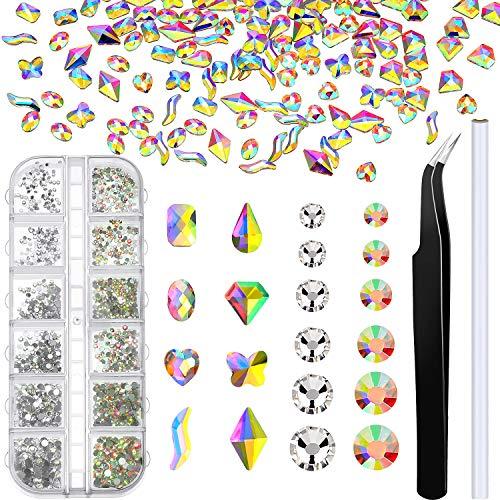 1600 Pièces Mini Strass Gemme d'Art d'Ongle Multi-Formes avec Pince à Épiler et Stylo à Point pour Décorations d'Art d'Ongle d'Artisanat de Slime de Résine