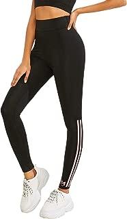Women's Stretchy Skinny Workout Side Stripe Leggings Yoga Tights Pants Black L