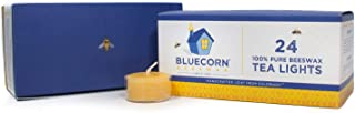 Bluecorn Beeswax 100% Pure Beeswax Tea Lights (24 case, Raw)