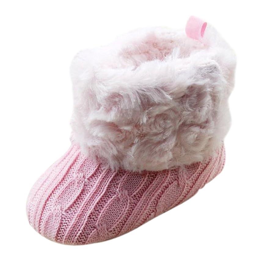 宿命理由蒸し器SODIAL 幼児ベビーかぎ針編み/ニットフリースブーツ幼児女の子ウール雪ベビーシューズブーツ-S ピンク
