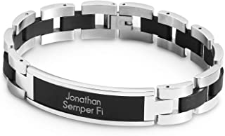 Personalized Black Matte ID Bracelet with Engraving Included