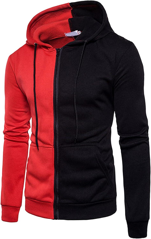 FORUU Hoodie Jacket For Men 2021 Fall Jacket Colorblock Zipper Jacket Fashion Mens Winter Coats Peacoat Outerwear