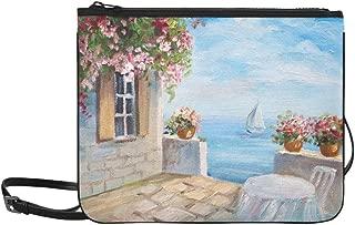 Oil Painting House Near The Sea Colorful Flower Pattern Custom High-grade Nylon Slim Clutch Bag Cross-body Bag Shoulder Bag