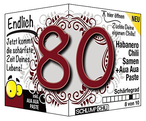 Schlump-Chili⎥Endlich 80 - das witzige scharfe Geburtstagsgeschenk. Eine originelle Geschenkidee zum 80. Geburtstag für Männer und Frauen :)