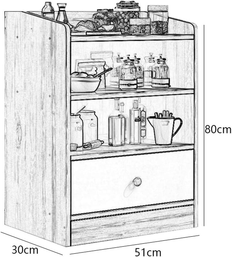 Color : Blue Pine DOMESTICO Pratico Household Credenza Multifunzione Ristorante Corner Cupboard Cucina ripiano Shelf da Terra Soggiorno Assemblare Camera 51X30X80cm UOMUN