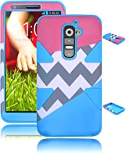 Bastex Heavy Duty Dynamic Hybrid Case For LG G2 VS980 D800 Sky Blue Silicone - Pink and Blue with Grey and White Chevron Design Shell Cover