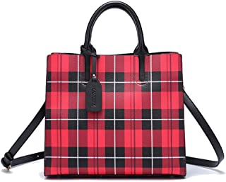 Fine Bag/Plaid Handbag Fashion Shoulder Bag Personality Crossbody Bag Wild Tote Bag Large Capacity Women's Bag Dating to Work Trend (Color : Red, Size : 32 * 13 * 28cm)