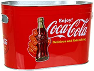 Coke Coca-Cola Vintage Look Oblong Metal Painted Ice Gift Bucket Tub Tote