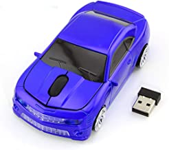 Wireless Car Mouse, 2.4G Wireless Race Car Shaped Mouse Cool Optical Computer Mouse Novelty Cordless Mice, 1600 DPI for PC Desktop Mac Laptop (Blue)
