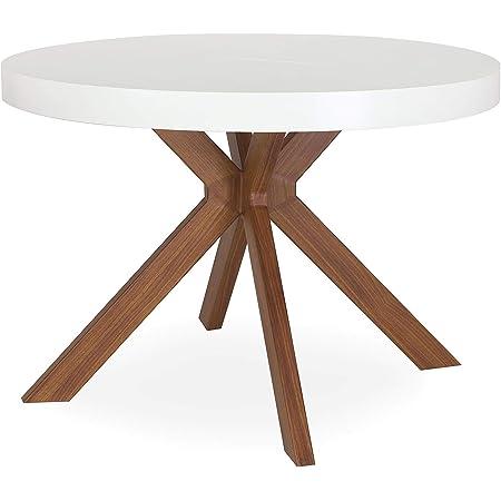 Menzzo Table a Manger avec Pied de Table Metal | Table Ronde Extensible Salle a Manger ou Cuisine avec Pied Central| Bois Blanc, Metal | Myriade |D110 cm x H75 cm Dépliée: L110 x P160-210-260 x H75 cm