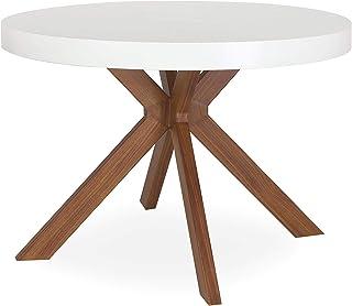 Menzzo Table a Manger avec Pied de Table Metal | Table Ronde Extensible Salle a Manger ou Cuisine avec Pied Central| Bois ...