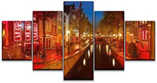 Skipvelo 5 Panels Wall Canvas Prints Pictures, Amsterdam October 1 2012 Red Light District in Amsterdam on October Wall Paintings Wall Decor Stretched and Framed Ready to Hang