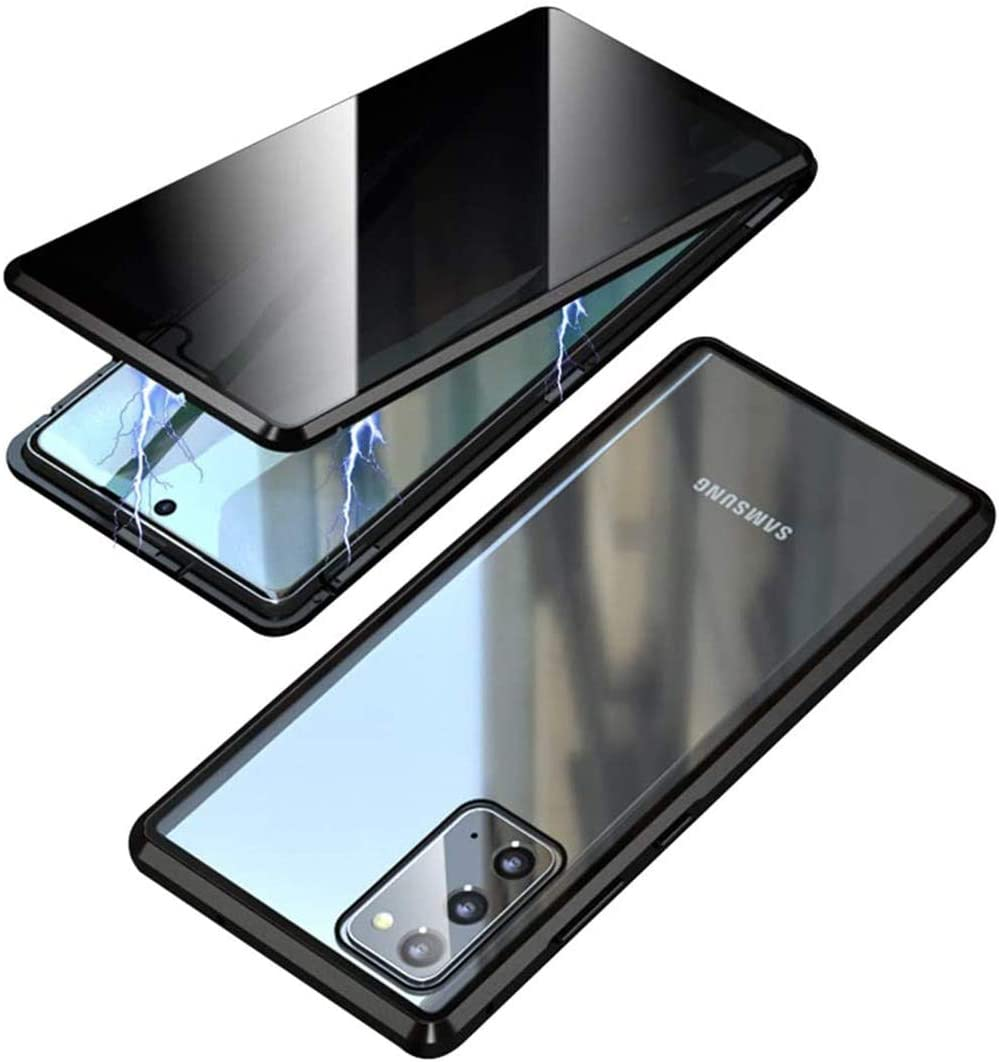 Anti-Peeping Case for Galaxy S21 with Privacy Screen Protector,360 Full Body Magnetic Cover Front and Back Tempered Glass Metal Bumper 2021 Cover (Black, Galaxy S21)