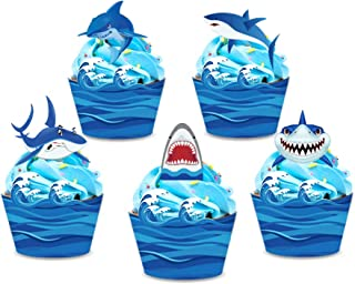 CC HOME Shark Cupcake Wrappers and Toppers (20Pieces),Reversible Shark Cup Cake Wrap Decorations,Shark Table Centerpieces Sticks Decorations Shark Party Favor for Baby Shower,Birthday Supplies Favor