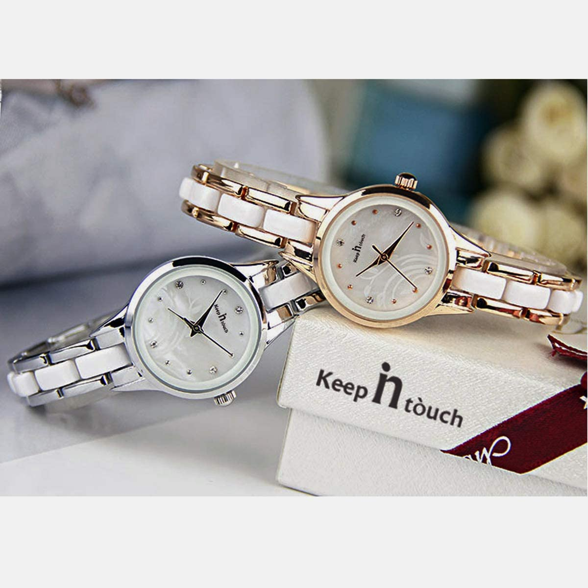 KEEP IN TOUCH Two-Tone Women Ladies Watches Fashion Waterproof Stainless Steel Wristwatch