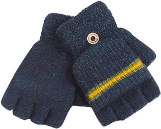 EODNSOFN 2020 enfants enfants gants sans doigts rayé demi doigts tricotés mitaines hiver hiver doux unisexe gants de base ...