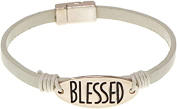 Elosee Religious Theme Blessed Inspiration Magentic Leather Bracelet