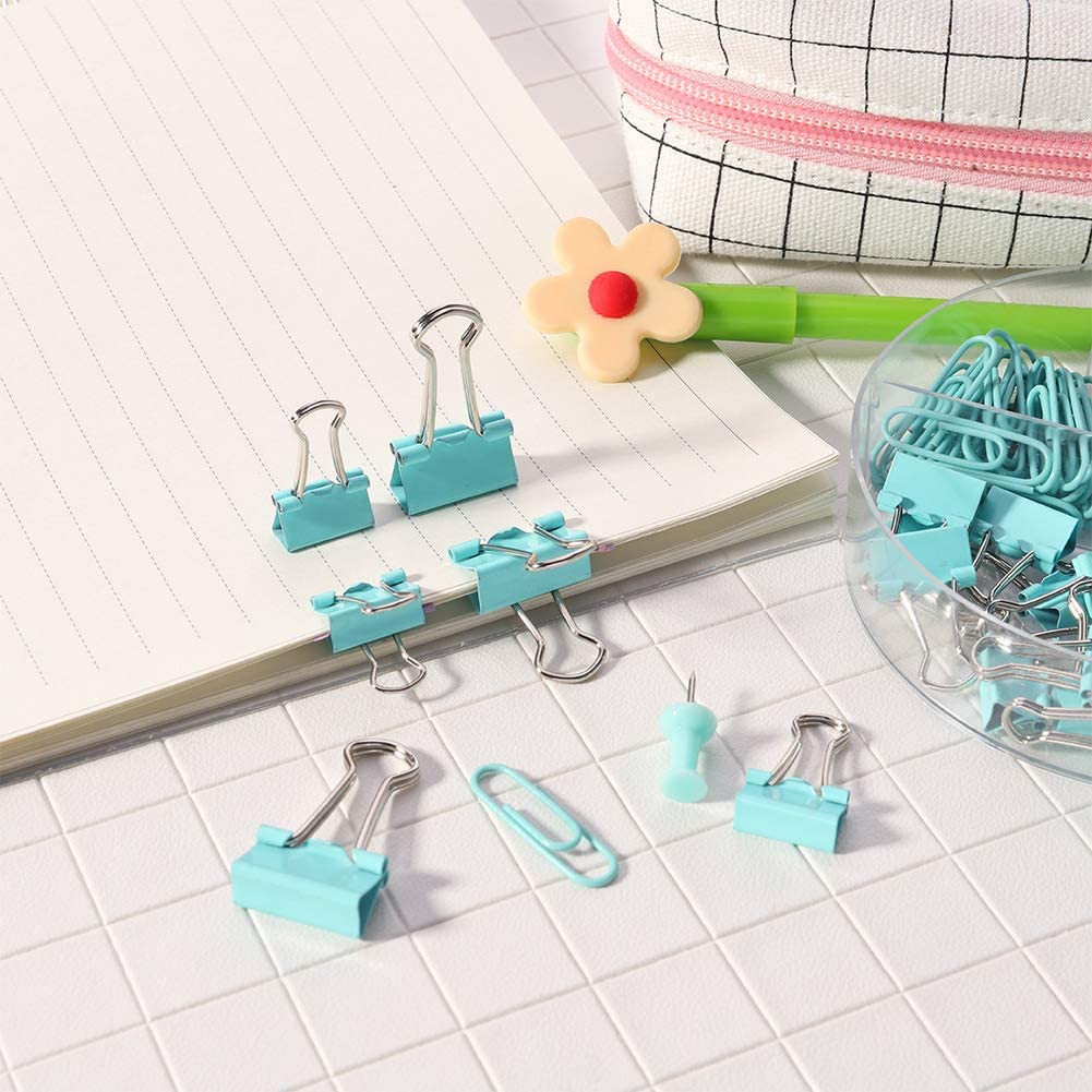 Rose Gold Girlslove talk Office Stationery Set Office Stationery Set Map Push Pins Paper Binder Clips with Organized Box for Office Class School Home Paper Clips