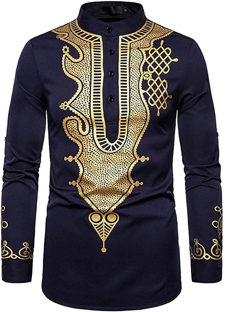 Shirts for Men Men's Middle Eastern Style Long-sleeve Tee Mens Shirts Jacket In Printing Fashion Blouse Polo Mens Shirts